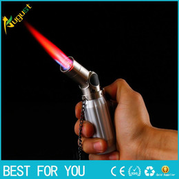 Wholesale HONEST inflatable metal lighter portable four straight jet torch lighter Cigar special igniter flame torch lighter with gift box