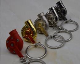 Wholesale Spinning Turbo Keychain Hot Sale Automotive Car Part Model Turbine Turbocharger Sleeve Bearing Key Chain Ring Keyring Keyfob