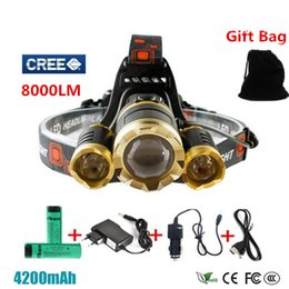 Wholesale LED Headlight Headlamp Lm CREE XML T6 R5 LED Head Lamp Light mode Flashlight torch x18650 battery charger for Hunting