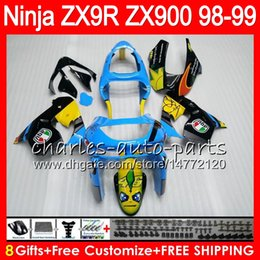 8Gifts 23Colors For KAWASAKI NINJA ZX 9 R ZX9R 98 99 00 01 900CC Blue Graffiti 48HM3 ZX 9R ZX900 ZX900C ZX-9R 1998 1999 2000 2001 Fairing