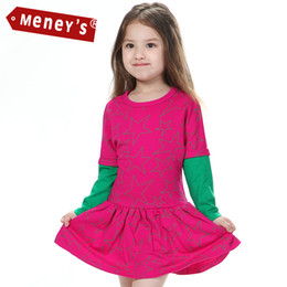 Meney's WD-002 Girls Casual Clothes 2 Layers Full Sleeve Todder Fashion Stars Dress 100% Cotton Kids Party Birthday Christmas Dresses