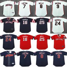 Wholesale 8 ALBERT BELLE KENNY LOFTON MANNY RAMIREZ CARLOS BAERGA DUANE KUIPER BELL Cleveland Indians Throwback Baseball Jersey