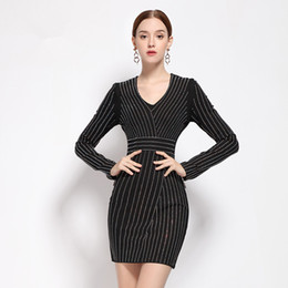 2017 Spring Autumn Fashion Women's Elegant Bling Shine Rhinestones Beading Dress V-neck Cuff Slim Straight Vintage Dresses