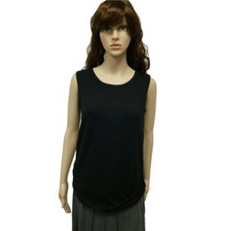 Wholesale Sleeveless Simple T Shirt Women Bamboo Fiber Short Casual Crew Neck T Shirt Women Clothing for Women with Black Color