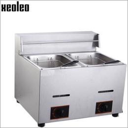 Wholesale Xeoleo Commercial Gas Fryer Double tanks Fryer L Gas French fries machine Fry machine Frying pan LPG degree Deep Fryer