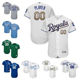 Wholesale Kansas City Royals Flex Base Custom Green Home White Gold Father s Memorial Day Light Royal Blue Alternate Gray Road Baseball Jerseys