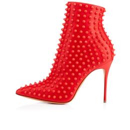 Zandina Femmes Femmes Mode Rivet Spikes 100MM Zipper Automne Hiver Bottes Talon Haute Rouge red spiked high heels deals à partir de rouge à pointes hauts talons fournisseurs