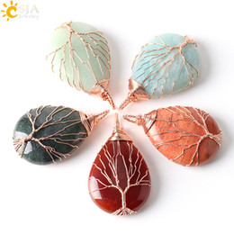 Wholesale CSJA Rose Gold Plated Wire Wrap Life Tree Women Jewelry Natural Water Drop Amazon Stone Agate Necklace Pendant Charms Free Gift E223 A