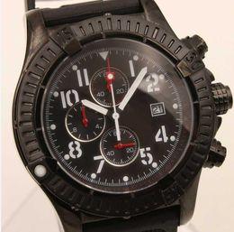 Wholesale Factory Supplier NEW Luxury brand pvd black limited chronometer Date Quartz seawolf stainless steel Sport Chronograph Watch Men rubber belt