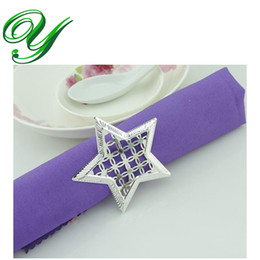 silver Napkin Rings wedding napkin holder Wedding favors decoration Supplies pierced star shaped metal ring for napkin table dinnerware