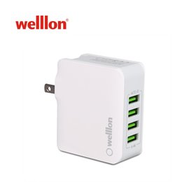 Welllon 4-Port USB Wall Charger 22W Mulit-Port Portable Travel Charger Adapter with Auto-ID SmartID Tech, Foldable Plug and LED Indicator