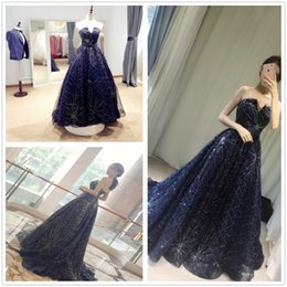 Wholesale 2017 New Cheap Bling Bling Navy Blue Strapless Tulle A Line Prom Dresses Strapless Sweep Train Formal Party Evening Dresses With Lace Up Bac
