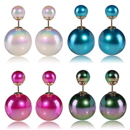 Colorful rainbow color double sided Pearl Earring FZ60