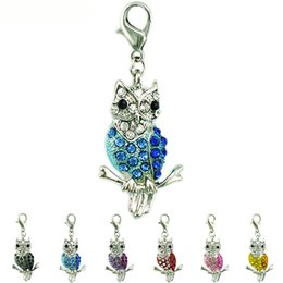 Fashion Floating Lobster Clasp Charms Dangle 6 Color Rhinestone Owl Charms DIY Charms For Jewelry Making Accessories