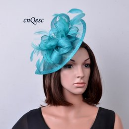 Turquoise blue bridal fascinator Sinamay Feather Fascinator Hat hair accessory for kentucky derby,wedding,church,party.