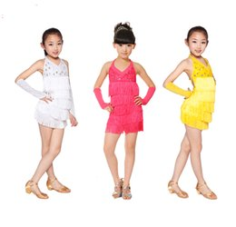Clear stock high quality new children girl's yellow hot pink white milk silk tassel dancewear latin dance dress matched sleeve 110-145CM