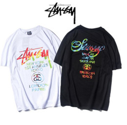 Stussy Europe and the United States tide brand Rainbow street personality splashing men and women short sleeve T-shirt cotton