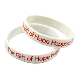 Wholesale Drop Shipping 100PCS Lot The Gift of Hope Happens Here Silicone Wristband Printed Logo Bracelets