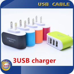 Wholesale 3 USB Wall Charger EU US Plug V A LED Power Adapter Portable Travel Charger Adapter Charger Home AC For Samsung All Phone PC Laptop