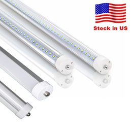 Stock In US + 8 feet led 8ft t8 FA8 Single Pin LED Tube Lights 45W 4800Lm LED Fluorescent Tube Lamps AC100-277V 240LED