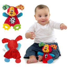 Wholesale Baby Infant Cute Plush Toy Comfort Towel with Sound Paper and Teether Dog Soft Appease Stuffed Toy Playmate Calm Doll