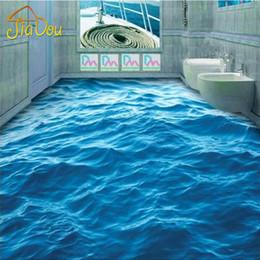 Wholesale Custom Photo Floor Wallpaper D Stereoscopic Floor Waves Mural PVC Wallpaper Living Room Bathroom Self adhesive Floor Wallpaer
