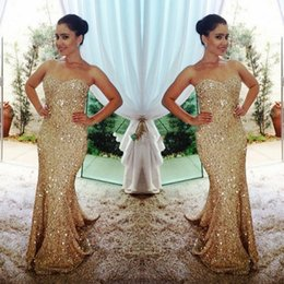 Wholesale Sexy Mermaid Sequin Gold Long Evening Dresses Sweetheart Off the Shoulder Crystal Design Sweep Train Formal Prom Dresses