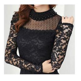 Femmes top perle en Ligne-Plus grande taille New Fashion Femmes T-shirts Printemps Stand Collier Perle Crochet Blouse Chemises manches longues sexy Tops Noir / Blanc