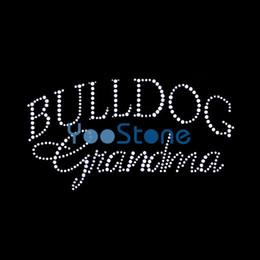 High Quality Bulldog Grandma Rhinestone Transfer Iron On Strass Hotfix Motif For Garment Decoration
