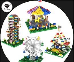 Wholesale 4pcs GEM models amusement park Series Ferris wheel Carousel Jumping ect diamond building blocks nano figures bricks for kids