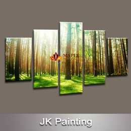 5 Panel Forest Painting Canvas Wall Art Picture for Living Room Canvas Print Modern Painting--Large Canvas Art Cheap