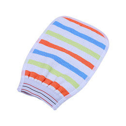 Wholesale Striped men and women universal bath brush Cuozao towel double sided coarse and fine sand exfoliating rubbing mud back