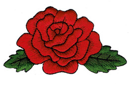 Wholesale Beautiful Embroidery Red ROSE Flower Embroidery Iron On Clothing Patch DIY Applique Patch Cartoon Badge G0441
