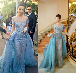 Wholesale Light Sky Blue Zuhair Murad Evening Dresses Sheer Neck Short Sleeves Appliques Lace Tulle Over Skirt Celebrity Dresses Formal Prom Dresses
