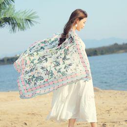 2017 new summer fashions Beach sunscreen scarf women Retro national style silk muffler100% printing Dyed Variety of decorative scarf 180*110