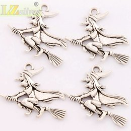Wholesale 100pcs Fashion x33mm Antique Silver Witches On Broom Spacer Charm Beads Pendants Alloy Handmade Jewelry DIY L224
