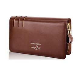 Promotion à double bourse de portefeuille Long style brun cuir hommes affaires portefeuille designer célèbre marque double embrayage couche sac à main noir