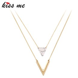 Wholesale KISS ME Alloy Artificial Marble Triangle Pendant Necklace New Summer Jewelry Alloy Layered Necklace