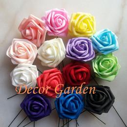 Wholesale 15Colors 7CM Artificial PE Foam Roses For DIY Wedding Bouquet Wrist Roses Flowers Home Floral Decor