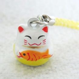 Wholesale 50pcs New Design Yellow RICHNESS Maneki Neko Lucky Cat Fish Bell Phone Pet Collar Charm quot