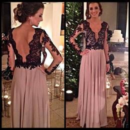 Wholesale Elegant Black Lace Long Sleeves Chiffon Evening Dresses Vestido Longo Sexy Para Festa A Line Prom Gowns Plus Size Accepted