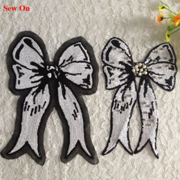 Wholesale 5pcs Bowknot Beaded Patch For Clothing Sequin Patches parches Glitter Embroidered Wedding Dress Patchwork Badge Applique Clothes Decoratioin