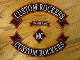 Custom Embroidered Rockers Ribbon, Name & MC Set Patch Vest Outlaw Biker MC Club Sew On Jacket back or leather coat