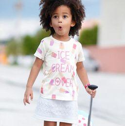 Wholesale BST15 NEW ARRIVAL Little Maven Girls Kids Cotton Short Sleeve Ice Cream print whiteT shirt kid girl s casual summer t shirt