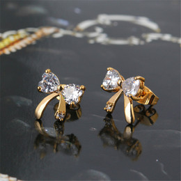 Wholesale Bowknot Stud Earrings K Yellow Gold Plated Childrens Kids Teen Jewelry Little Girls Cubic Zirconia Simulated Diamond
