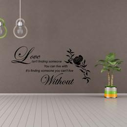 Compra Online Calcomanías de decoración de la habitación-Love Without Flower Wall Quotes Etiquetas Decorativas de Vinilo Decorativas Decoración Diy