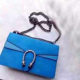 2017 chain bag women s handbag Bleu / Noir Marque de luxe de luxe de marque Sac à main de luxe Sac à bandoulière Femmes Messager Sac Ladies Dress Party Sacs à main en cuir véritable chaîne en métal peu coûteux chain bag women s handbag