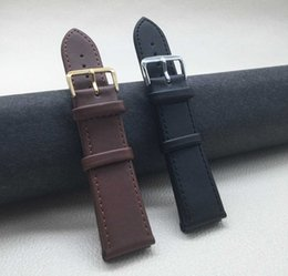 Foreign trade hot shoulder strap needle buckle plain leather strap multi-size multi-color black brown wristband men's ladies watch strap