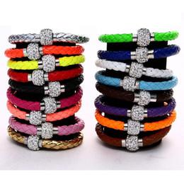 Compra Online Cristales checo pulseras-Nuevos colores MIC Shambhala Pulseras magnéticas del corchete de la pulsera de las pulseras magnéticas del corchete del Rhinestone del cuero de la armadura de Shambhala Brazaletes magníficos del encanto de la longitud del brazalete