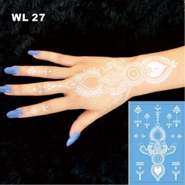 Wholesale WL Beautiful White Body Tattoo Women Sexy White Henna Temporary Waterproof Tattoo Presented And Produced By Our Store Only